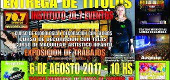 El Instituto 70.7 Eventos realiza el 6 de Agosto entrega de Títulos en el Teatro Municipal de Lomas de Zamora
